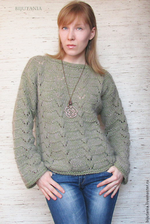 Кофты и свитера ручной работы. Ярмарка Мастеров - ручная работа. Купить Пуловер серо-зеленый. Handmade. Однотонный, серо-зеленый