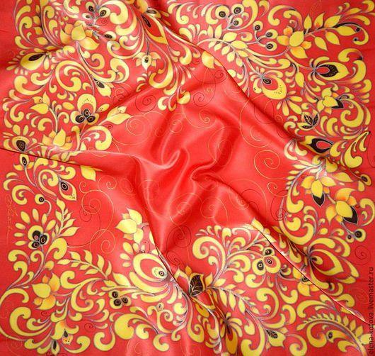 """Шали, палантины ручной работы. Ярмарка Мастеров - ручная работа. Купить Платок батик """"Красная хохлома"""". Handmade. Ярко-красный"""