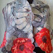 Аксессуары ручной работы. Ярмарка Мастеров - ручная работа валяный шарф  Маки королевы. Handmade.
