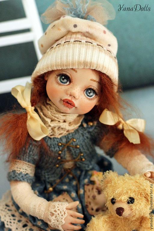 Коллекционные куклы ручной работы. Ярмарка Мастеров - ручная работа. Купить Тося. Handmade. Тёмно-бирюзовый, мишка, натуральная кожа