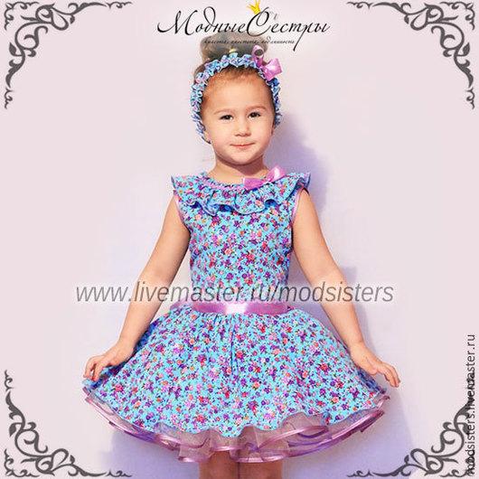 """Одежда для девочек, ручной работы. Ярмарка Мастеров - ручная работа. Купить Платье """"Цветочное"""" Арт.235. Handmade. Бирюзовый, ретро"""