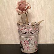 """Для дома и интерьера ручной работы. Ярмарка Мастеров - ручная работа Ваза-кашпо  """"Винтажные розы""""- 30%. Handmade."""