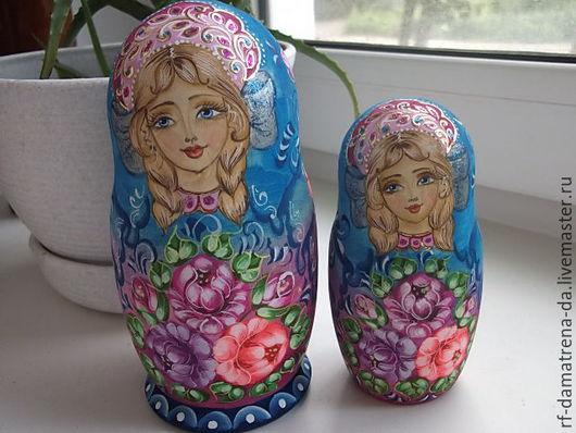 """Подарочные наборы ручной работы. Ярмарка Мастеров - ручная работа. Купить Матрешка """" Розово - голубая """" 5 мест. Handmade."""