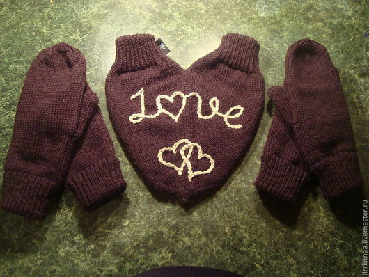 Варежки, митенки, перчатки ручной работы. Ярмарка Мастеров - ручная работа. Купить варежки для влюбленных. Handmade. Черный, подарок