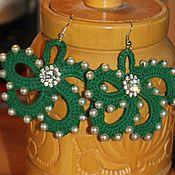 Украшения handmade. Livemaster - original item Green crochet flower earrings. Handmade.