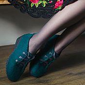 Обувь ручной работы handmade. Livemaster - original item Shoes felted Emerald. Handmade.