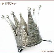 """""""Серебряная Большая Корона II"""" Заколка для волос (невидимка)"""