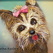 Картины и панно ручной работы. Ярмарка Мастеров - ручная работа Картина вышитая лентами Символ 2018г - собака. Handmade.
