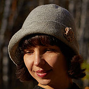 Аксессуары handmade. Livemaster - original item Crochet  Gray hat, golden rose brooch, cloche hat, women`s hat. Handmade.