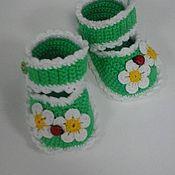 Работы для детей, ручной работы. Ярмарка Мастеров - ручная работа туфельки-пинетки. Handmade.