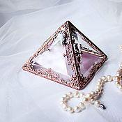 Свадебный салон handmade. Livemaster - original item Copper Pyramid. Glass box for wedding rings. Jewelry box.. Handmade.
