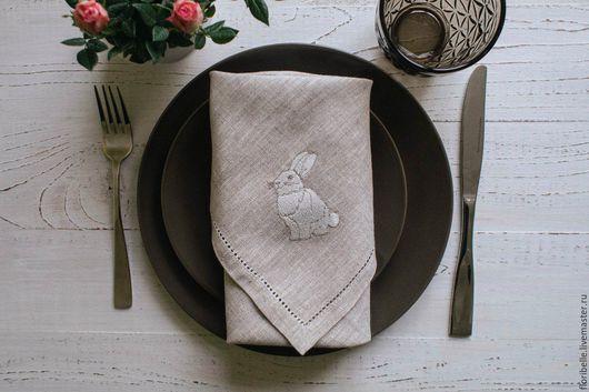 """Текстиль, ковры ручной работы. Ярмарка Мастеров - ручная работа. Купить Сервировочные салфетки """"Пасхальный кролик"""". Handmade. Серый, лён"""