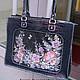 Вместительная, деловая и женственная сумка  и ремень с росписью. Длина ручек позволяют носить сумку на плече.