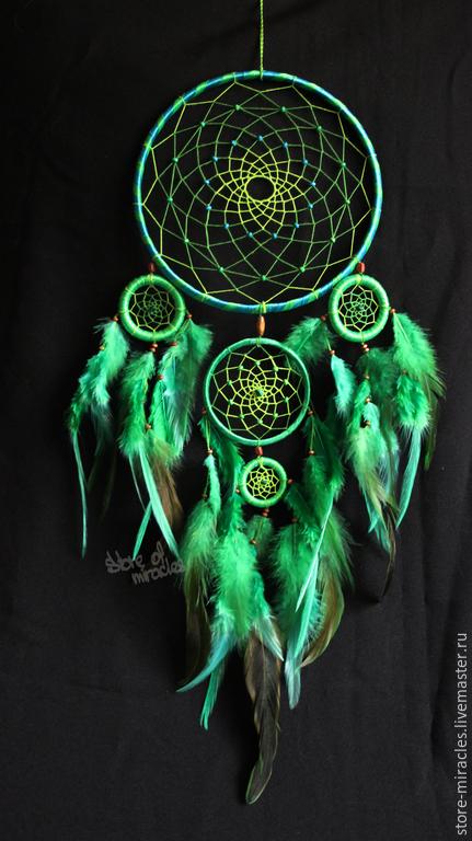 """Ловцы снов ручной работы. Ярмарка Мастеров - ручная работа. Купить Ловец Снов """"Adeje"""". Handmade. Зеленый, dreamcatcher, перья"""