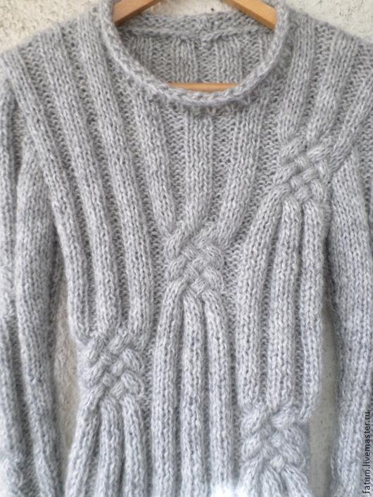 Кофты и свитера ручной работы. Ярмарка Мастеров - ручная работа. Купить Вязаный свитер Светло-серый Котик. Handmade. Серый