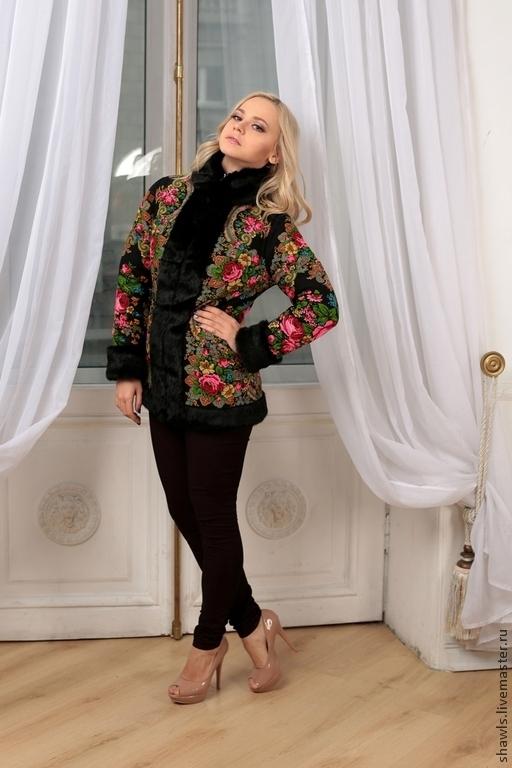 """Верхняя одежда ручной работы. Ярмарка Мастеров - ручная работа. Купить Куртка """"Боярыня"""" из павловопосадского платка. Handmade. Разноцветный, подарок"""