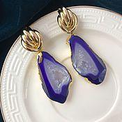 Серьги классические ручной работы. Ярмарка Мастеров - ручная работа Серьги со срезом агата фиолетовые, серьги с фиолетовым камнем. Handmade.