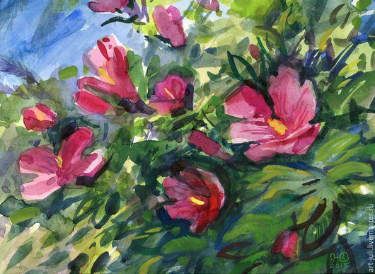 """Картины цветов ручной работы. Ярмарка Мастеров - ручная работа. Купить акварель """"Южные цветы"""". Handmade. Фуксия, цветы акварелью"""
