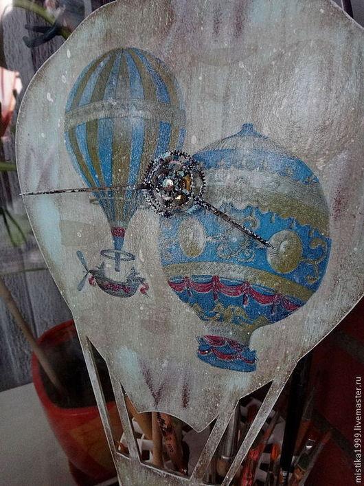 """Часы для дома ручной работы. Ярмарка Мастеров - ручная работа. Купить Часы """"На большом воздушном шаре..."""". Handmade."""