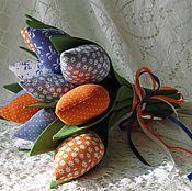 Цветы и флористика ручной работы. Ярмарка Мастеров - ручная работа Букет тюльпанов текстильный. Handmade.