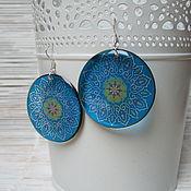 Украшения handmade. Livemaster - original item Transparent Earrings Round Earrings Blue Mandala Pattern Ethno Meditation. Handmade.