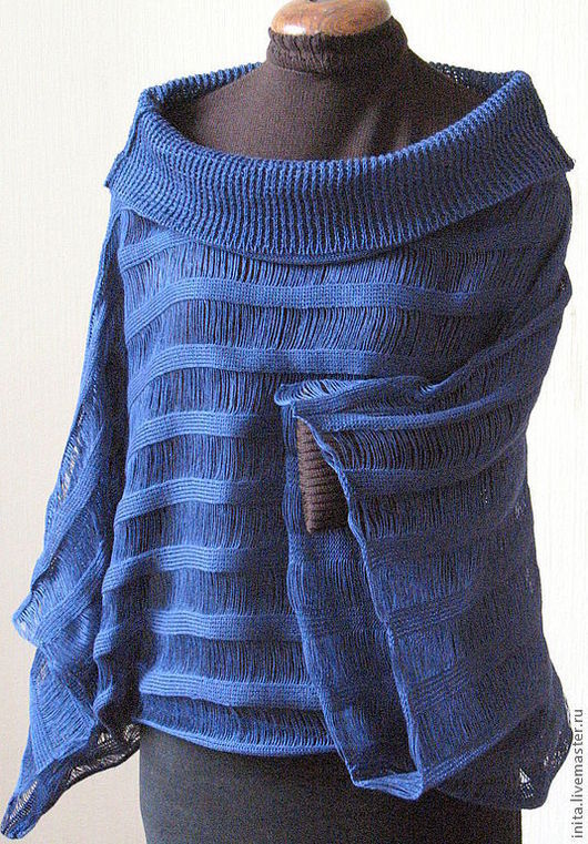 Кофты и свитера ручной работы. Ярмарка Мастеров - ручная работа. Купить Топ туника льняная Свитер Одежда синяя. Handmade.