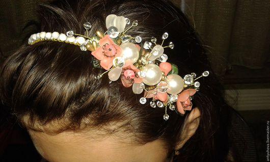 """Диадемы, обручи ручной работы. Ярмарка Мастеров - ручная работа. Купить Обруч для волос""""Розовый букет"""". Handmade. Ободок для девочки"""