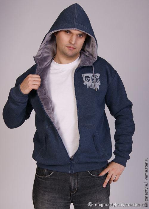 Dark blue men's fur hoodie, fur hoodie, Sweatshirts for men, Novosibirsk,  Фото №1