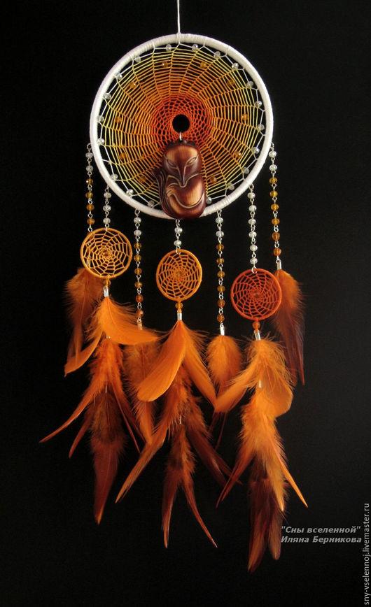 """Ловцы снов ручной работы. Ярмарка Мастеров - ручная работа. Купить Ловец снов """"Кицунэ"""". Handmade. Оранжевый, ловушка для снов"""