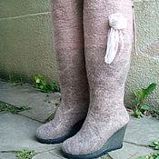 Обувь ручной работы. Ярмарка Мастеров - ручная работа Валенки-сапожки Черника со сливками-2. Handmade.