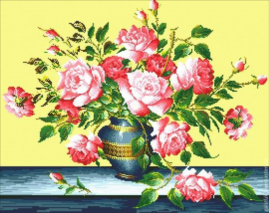 Схема для вышивания чешским бисером Букет роз (полная зашивка)