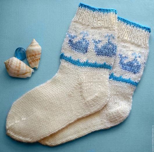 Носки, Чулки ручной работы. Ярмарка Мастеров - ручная работа. Купить Детские носки с китами. Handmade. Разноцветный, носочки детские