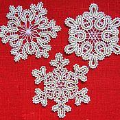 Подарки к праздникам ручной работы. Ярмарка Мастеров - ручная работа Снежинки кружевные 3 вида. Handmade.