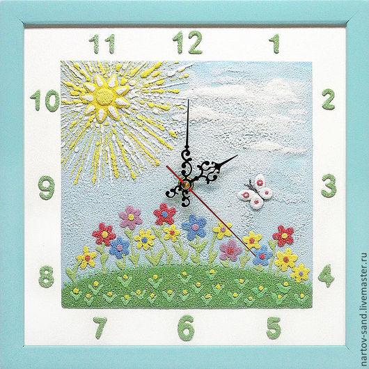"""Детская ручной работы. Ярмарка Мастеров - ручная работа. Купить """"ЛЕТНЕЕ НАСТРОЕНИЕ"""" из песка часы авторские. Handmade. Солнце, желтый"""