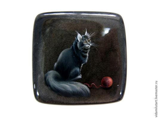 Роспись по камню ручной работы. Ярмарка Мастеров - ручная работа. Купить Норвежская лесная кошка на шелковом обсидиане. Handmade.