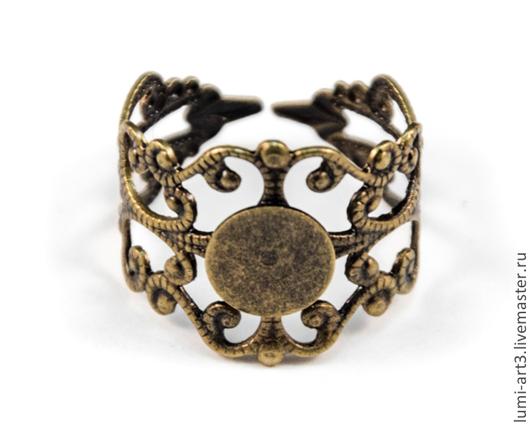 Для украшений ручной работы. Ярмарка Мастеров - ручная работа. Купить Основа для кольца античная бронза 16 мм раздвижная с филигранью. Handmade.