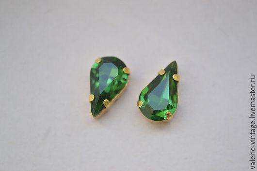 Для украшений ручной работы. Ярмарка Мастеров - ручная работа. Купить Винтажные кристаллы Swarovski 13х7,8 мм. цвет Green Turmaline. Handmade.