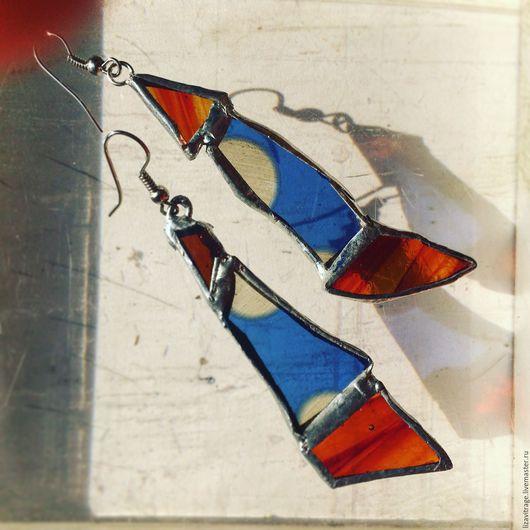 Серьги ручной работы. Ярмарка Мастеров - ручная работа. Купить Серьги витражные, голубой с красно-коричневым. Handmade. Голубой
