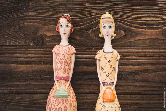 """Коллекционные куклы ручной работы. Ярмарка Мастеров - ручная работа. Купить Кукла-колокольчик """"Девушка в платье а-ля ретро"""". Handmade."""
