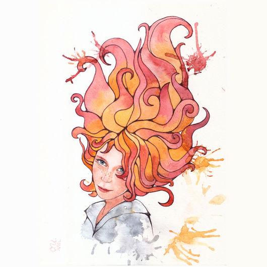 Портрет рыжей девушки с пламенем в волосах. Авторская аквареьлная живопись.