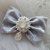 Свадебный салон handmade. Livemaster - original item Barrette bow-Silver light. Handmade.