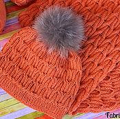 Аксессуары ручной работы. Ярмарка Мастеров - ручная работа Шапка и шарф-снуд, оранжевый комплект теплых вязаных аксессуаров. Handmade.