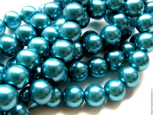 Для украшений ручной работы. Ярмарка Мастеров - ручная работа. Купить Жемчуг стеклянный 10 мм голубой (19709). Handmade.