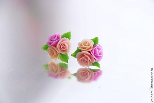"""Серьги ручной работы. Ярмарка Мастеров - ручная работа. Купить """"Парижанка"""" серьги-гвоздики. Handmade. Бледно-розовый, цветы, подарок"""