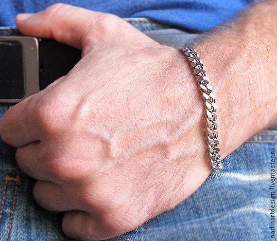 Мужские браслеты из серебра фото