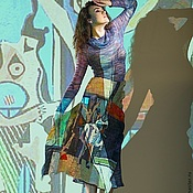 """Одежда ручной работы. Ярмарка Мастеров - ручная работа Платье """"Пикассо в джинсе"""". Handmade."""