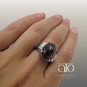 Украшения handmade. Livemaster - original item Ring with hessonite garnet and CZ. 925 sterling silver. Handmade.