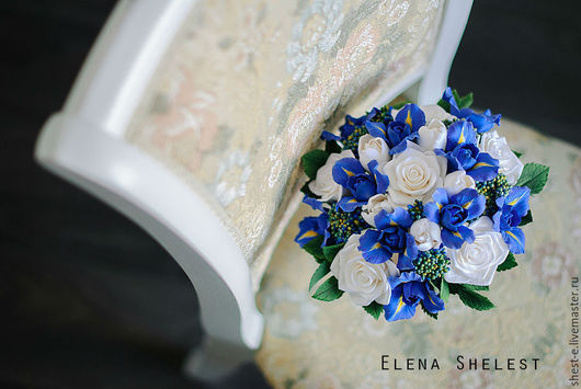"""Свадебные цветы ручной работы. Ярмарка Мастеров - ручная работа. Купить Букет невесты из полимерной глины """" Я возьму у неба синеву..."""". Handmade."""