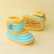Работы для детей, handmade. Livemaster - original item Boots plush booties, knitted shoes, infant shoes, children. Handmade.