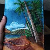 Канцелярские товары handmade. Livemaster - original item Diary of the Sea A5 embossing, coloring, painting. Handmade.